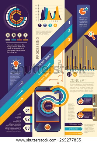Background with info graphic elements. Vector illustration.  - stock vector