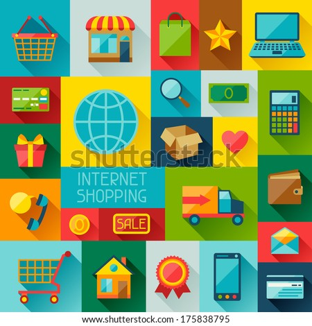 Background with internet shopping icons in flat design style. - stock vector