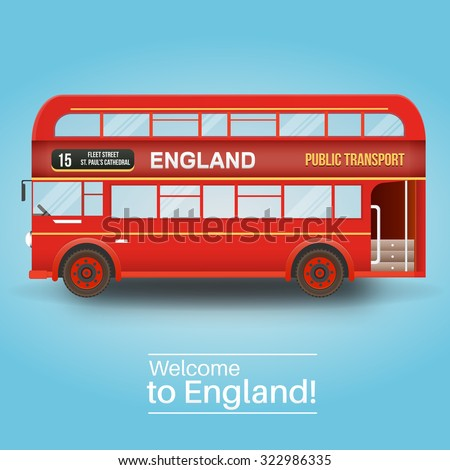 Background with isolated double decker bus. England, United Kingdom. - stock vector
