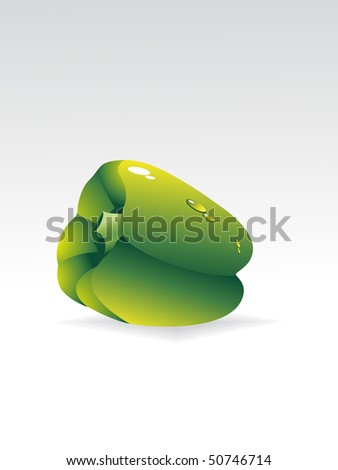 background with isolated green capsicum, vector illustration