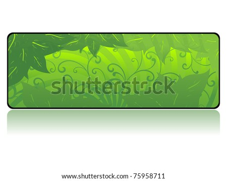 background with isolated green floral decorated banner, illustration - stock vector
