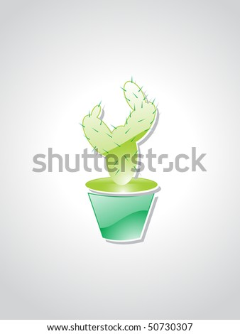 background with isolated green glossy cactus plant - stock vector