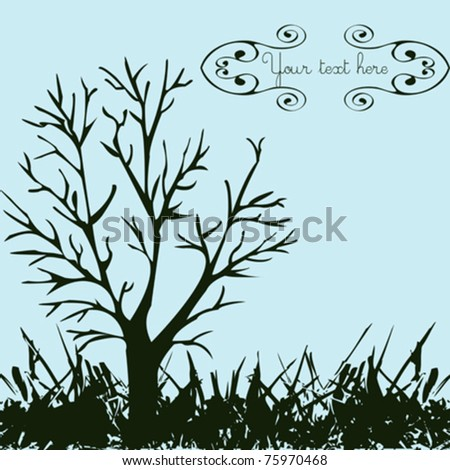 Background with isolated tree and grass - stock vector