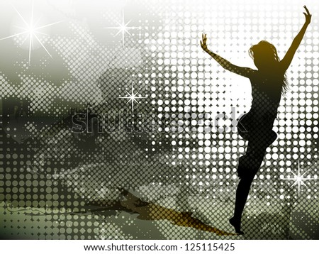 Background with jumping girl - stock vector