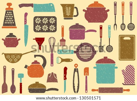 Background with kitchen ware - stock vector