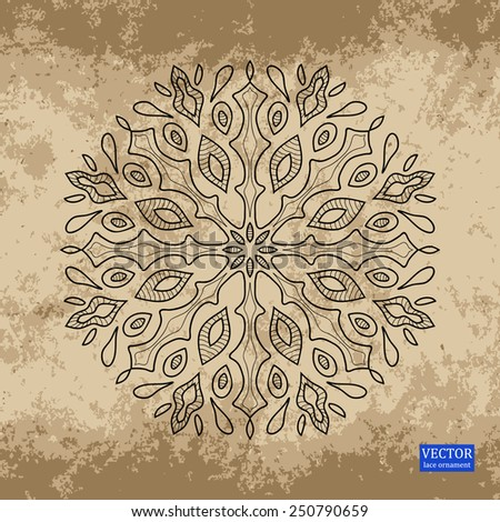 background with lace ornaments. A hand-painted ornament on a coffee background - stock vector