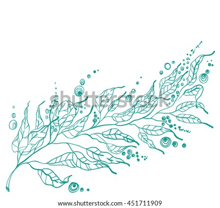 Background with leaf, hand drawn nature illustration, Vector - stock vector