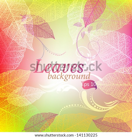 Background with leaves and patterns - stock vector
