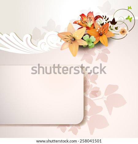 Background with lilies - stock vector