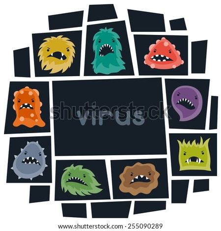 Background with little angry viruses, microbes and monsters. - stock vector