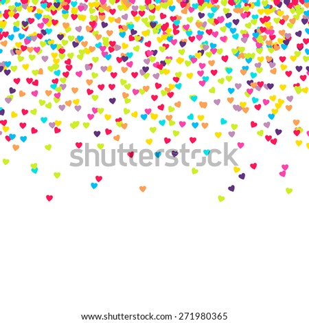 Background with many falling tiny heart shaped confetti pieces - stock vector