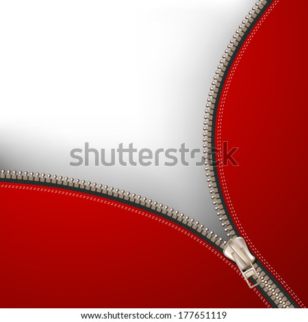 Background with metallic zipper - stock vector