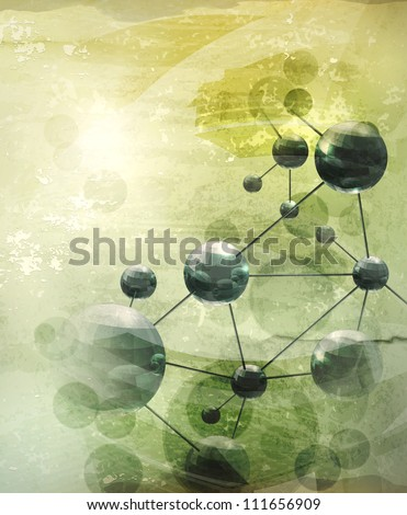 Background with molecules green, old-style vector - stock vector