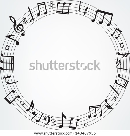 Background with music notes border - stock vector
