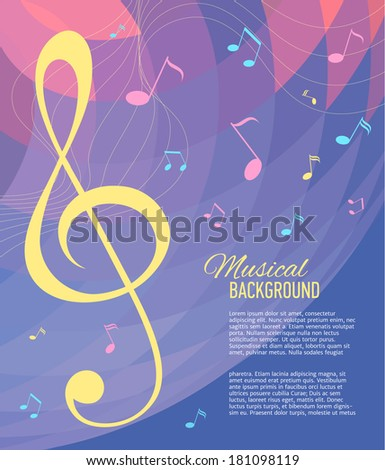 Background with music notes. Vector illustration.