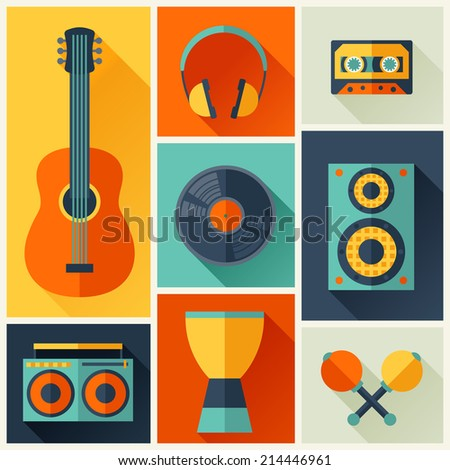 Background with musical instruments in flat design style. - stock vector