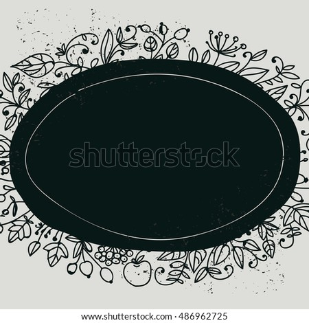 Background with natural elements. The leaves and berries. Black-and-white pattern. The oval design.