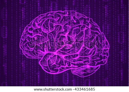 Background with numbers and brain sketch. Abstract purple background. VECTOR.  - stock vector