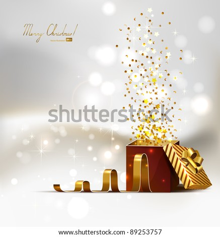 background with open bright Christmas gift