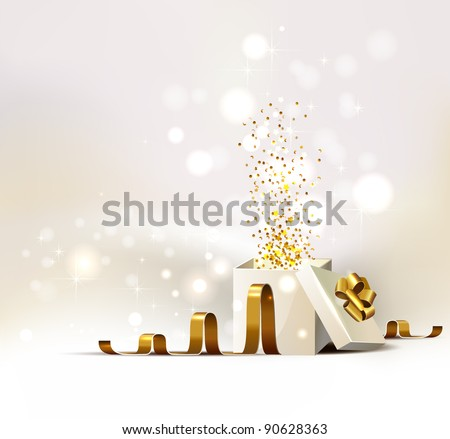 background with open white Christmas gift