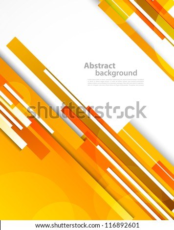 Background with orange lines. Abstract colorful illustration - stock vector