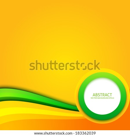 Background with orange, yellow, green color curves and circle - stock vector