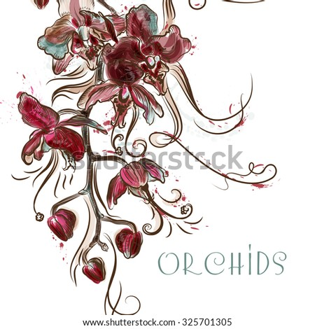 Background  with orchid flowers painted in watercolor style by spots - stock vector
