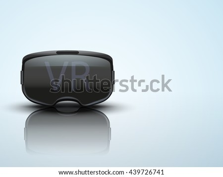 Background with Original stereoscopic 3d vr headset. Front view. Vector illustration.