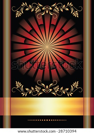 Background with ornament and golden ribbon for various design artwork