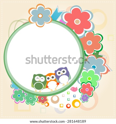Background with owl and flowers. invitation card vector - stock vector