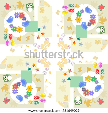 Background with owl, flowers and birds, raster vector - stock vector