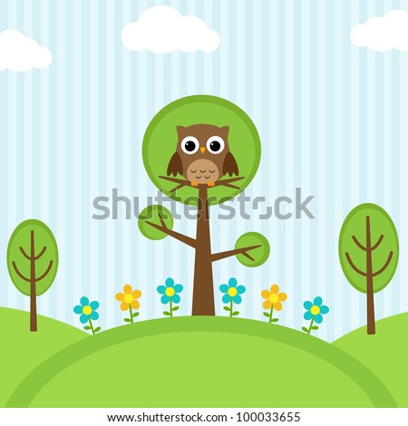 Background with owl, flowers and trees - stock vector