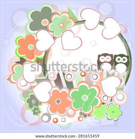 Background with owl, love hearts and flowers. invitation card vector - stock vector