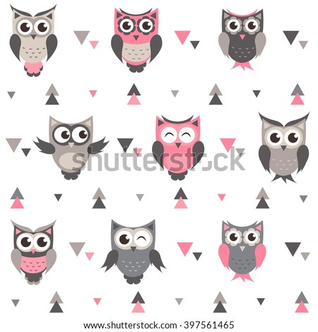 Background with owls, owlets and triangles - stock vector