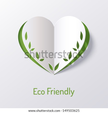 Background with paper green heart . Origami. Vector illustration. Abstract design.  - stock vector