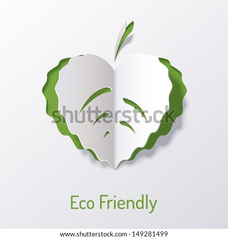 Background with paper leaf of the tree. The leaf looks like a heart. Eco friendly. Abstract design. Origami. - stock vector
