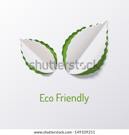 Background with paper leaves of the tree. Eco friendly. Abstract design. Origami. - stock vector