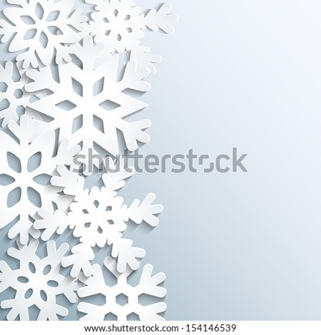 Background with paper snowflakes - stock vector