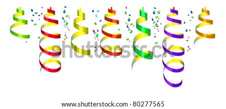 Background with party streamers and confetti, vector illustration - stock vector