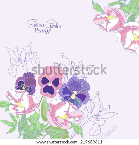Background with peonies,  irises and pansies