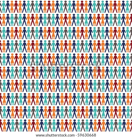 background with people in tile mode sameless for backgrounds - stock vector
