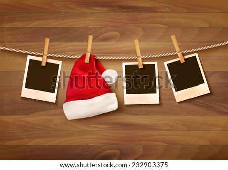 Background with photos and a santa hat. Vector. - stock vector