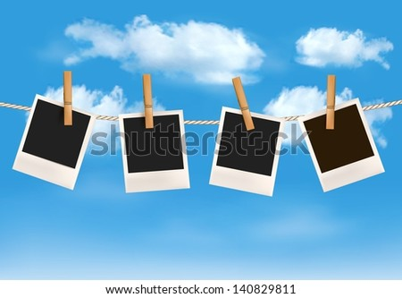 Background with photos hanging on a rope in front of a blue sky with clouds. Vector - stock vector
