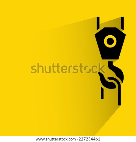 Background with pictograph of crane hook - stock vector