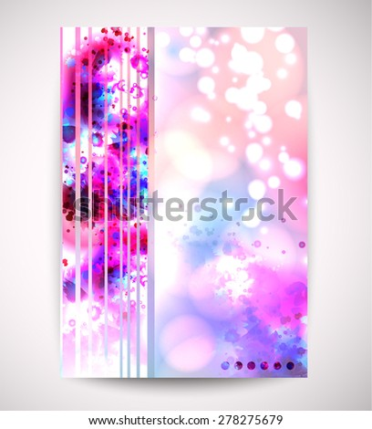 background with pink and blue  watercolors - stock vector