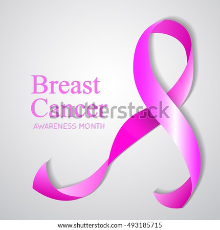Background with Pink Breast Cancer Ribbon. Vector  illustration
