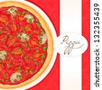 background with pizza with tomato and green onion with place for text  - stock