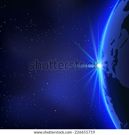 Background with Planet Earth Globe and Sunrise in Space. Vector Illustration - stock vector