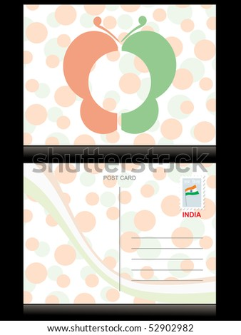 background with postcard for independence day - stock vector