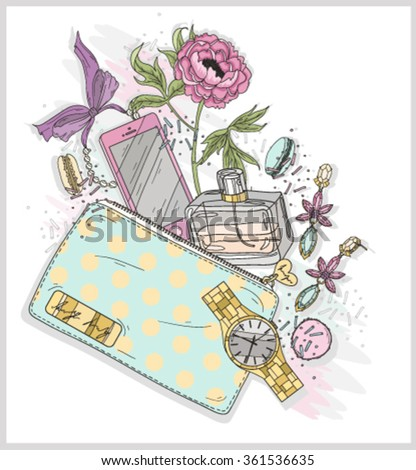 Background with purse, mobile phone, perfume,flower, jewelry and macaroons. Cute illustration for girls or women. - stock vector